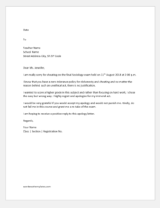 Apology Letter to Teacher for Cheating