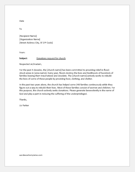 Church donation request letter to an organization