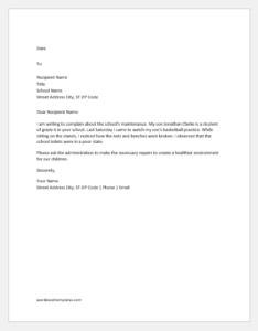 Complaint Letter about Poor Maintenance in School