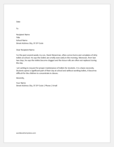 Complaint Letter about Poor Maintenance of Toilet in School