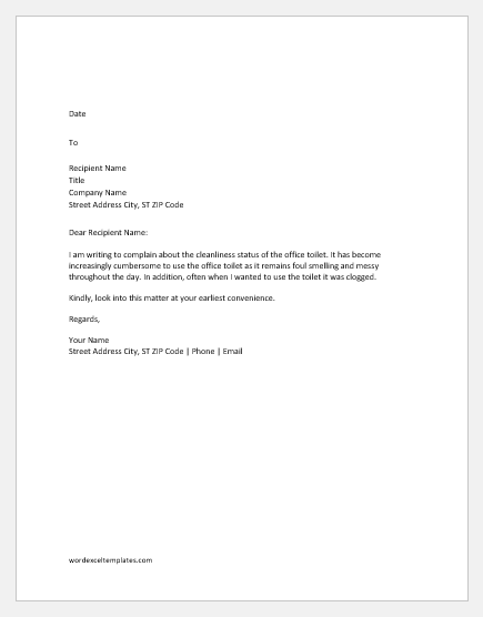 Complaint letter for office toilet not clean
