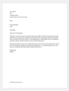 Debit note covering letter