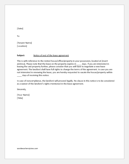 End of lease notification letter to the tenant