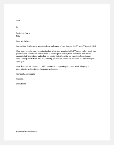 Excuse Letter for Missing Work due to Sickness