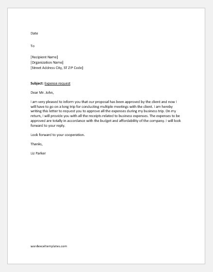 Expense request letter
