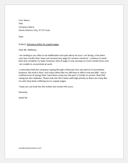 grievance letter for unpaid wages