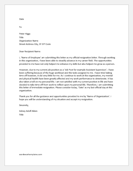 Immediate resignation letter due to stress