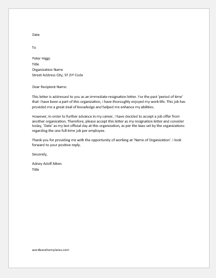 Immediate Resignation Letter For New Job from www.wordexceltemplates.com