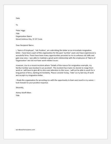 Immediate resignation letter for personal reason
