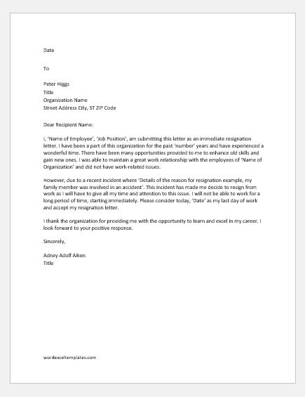 Immediate resignation letter for personal reason