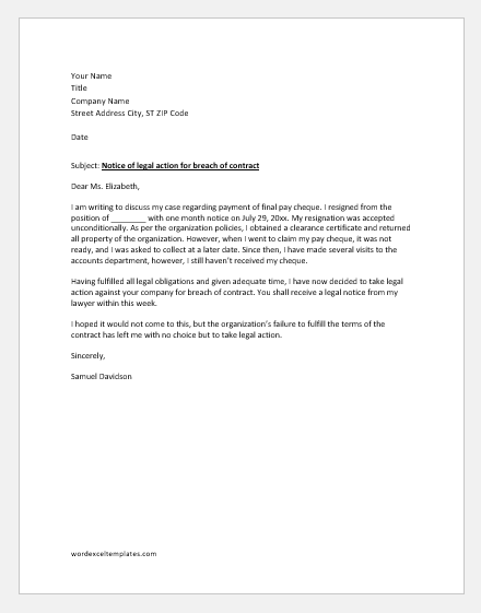 Letter of Legal Action for not Paying Salary after Resignation