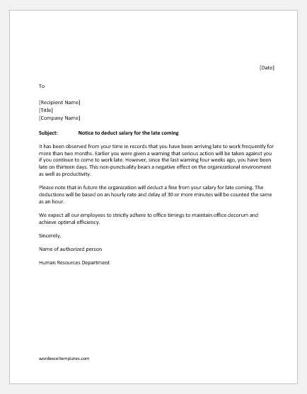 Late Employee Warning Letter from www.wordexceltemplates.com