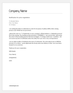 Notification Letter to Supplier for Late Delivery