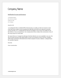 Notification Letter to Supplier for Poor Performance