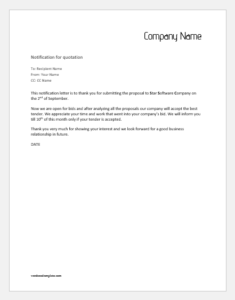 Notification Letter to Supplier for Quotation