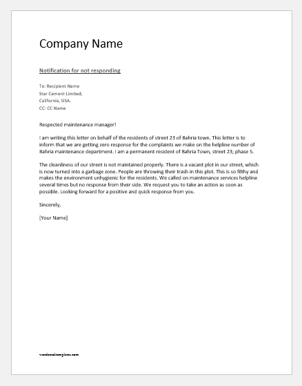 Notification-Letter-to-Supplier-for-not-Responding Vacant Letter Template on letter layout, letter from pastor to church, letter pattern, letter of interest, letter font, letter a craft, letter texture, letter background, letter gift tags, letter of credit, letter to employees about change, letter business, letter page, letter of recommendation for a teacher, letter e crafts to make with preschoolers, letter requesting termination of services, letter of community service, letter writing, letter format, letter of resignation from employment,