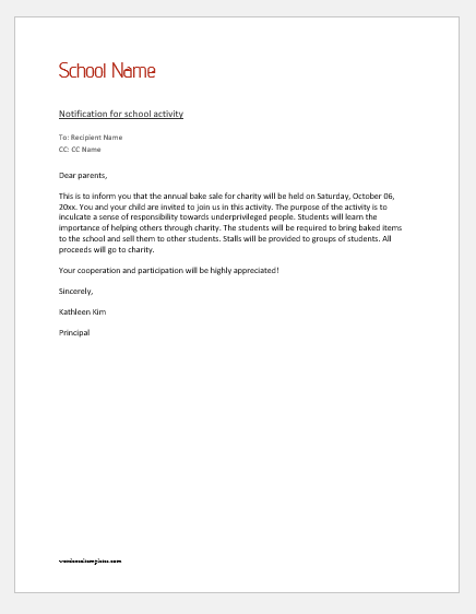 Notification letter to parent for a school activity