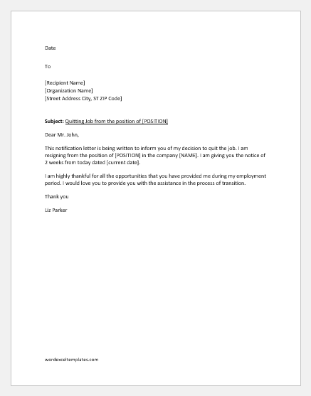 Notification letter to quit a job