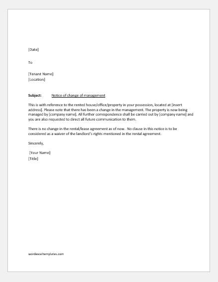 Notification letter to tenant for the change of management