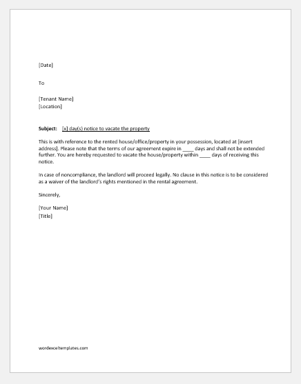 Notification letter to tenant to vacate
