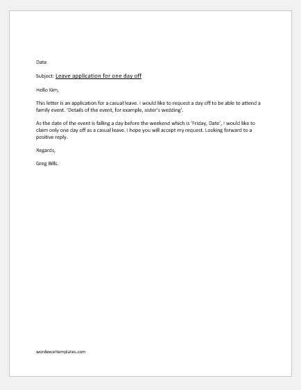 Office Casual Leave Application for family event