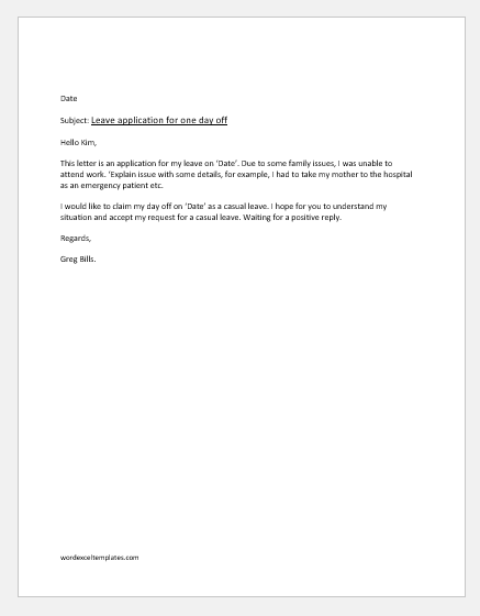 Leave Of Absence Letter For Family Reasons from www.wordexceltemplates.com