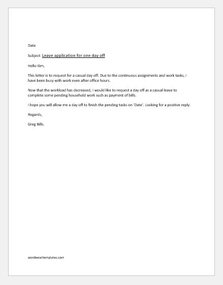 Office Casual Leave Application for pending work