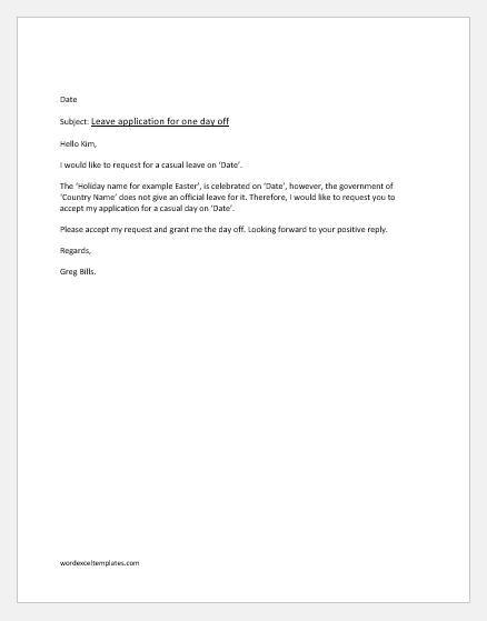 Office Casual Leave Application for religious holiday