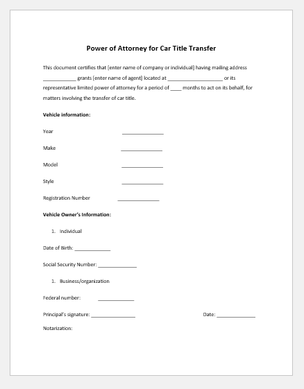 Power of attorney letter for car title transfer