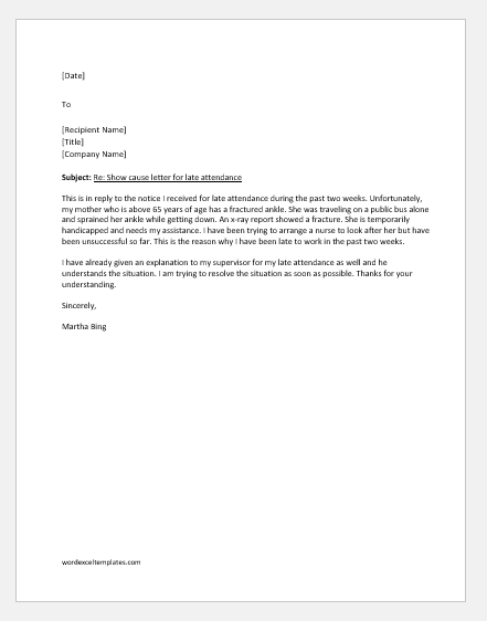 Reply to show cause letter for late attendance