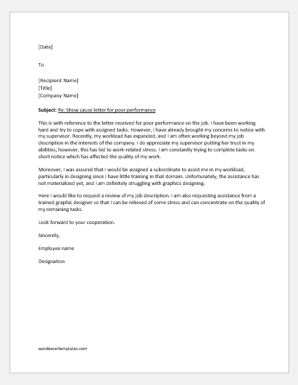 Reply to show cause letter for poor performance