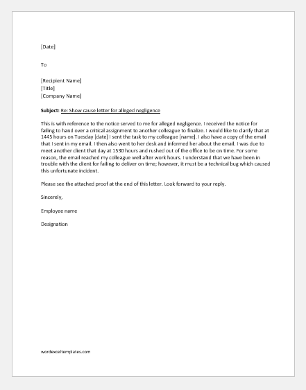 Reply to show cause letter on negligence