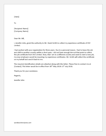 Sample Authorization Letter to Collect Certificate