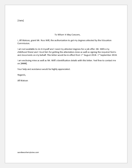 Letter Of Authorization Samples from www.wordexceltemplates.com