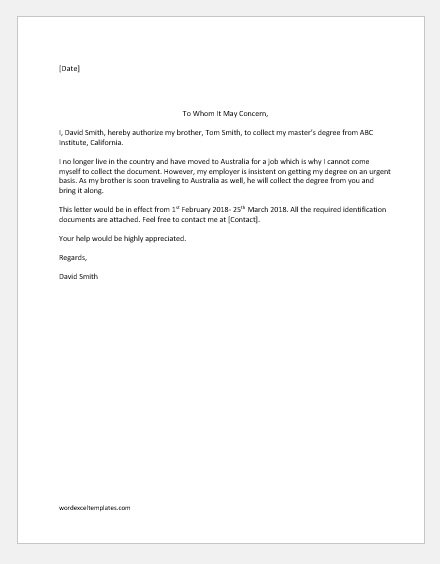 Sample Authorization Letter To Pick Up Document from www.wordexceltemplates.com