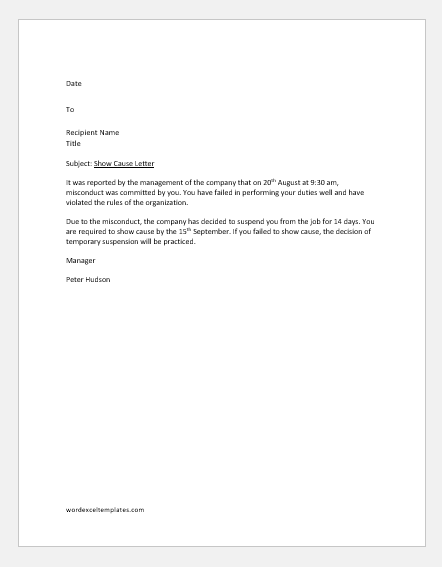 Sample show cause letter to an employee