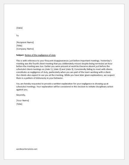 Show Cause Letter for Negligence