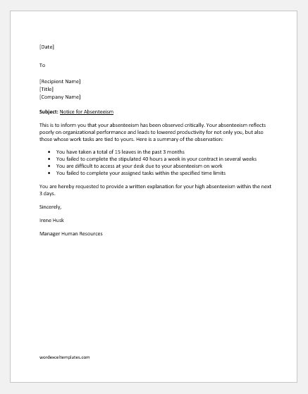Show cause letter for absenteeism