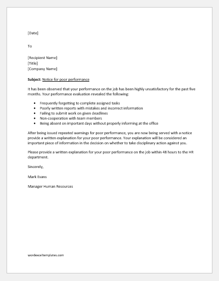 Show cause letter for poor performance