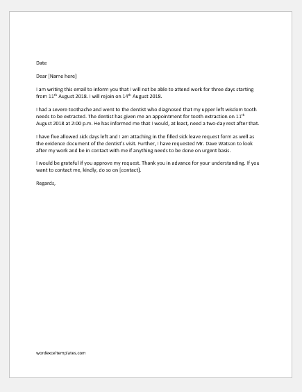 Sick Leave Letter Sample from www.wordexceltemplates.com