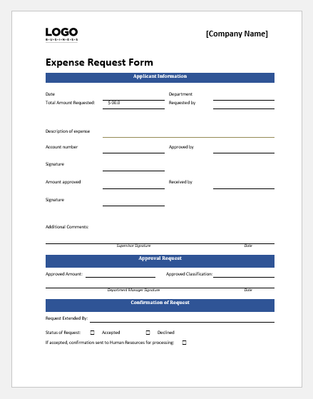 Staff expense request form template