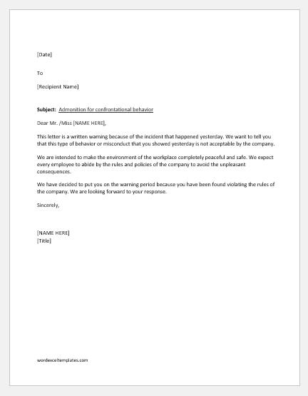 Warning letter for confrontational behavior