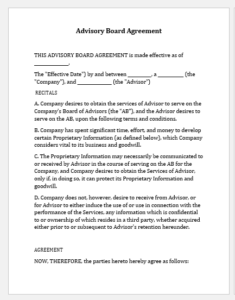 Advisory Board Agreement