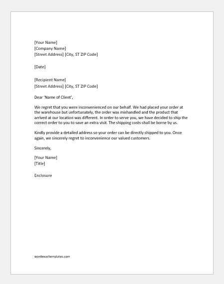 Apology letter to customer for the inconvenience