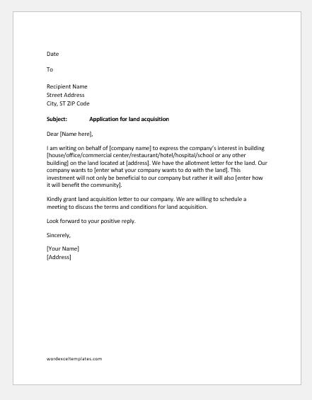 Application letter for land acquisition