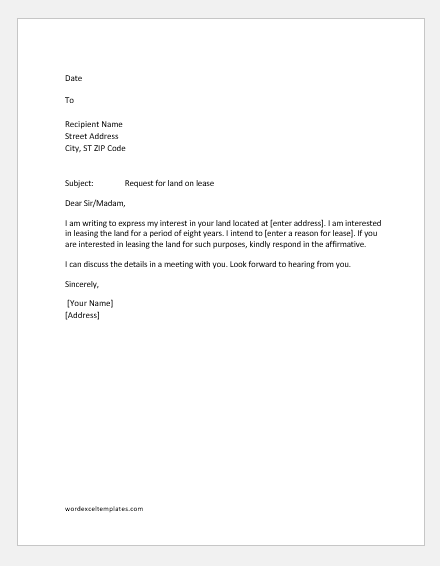 Application letter for land lease