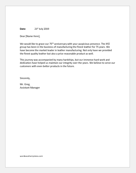 Business Anniversary Announcement Letter