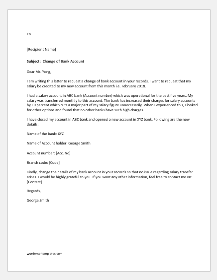 Change of Bank Account Letter to Manager