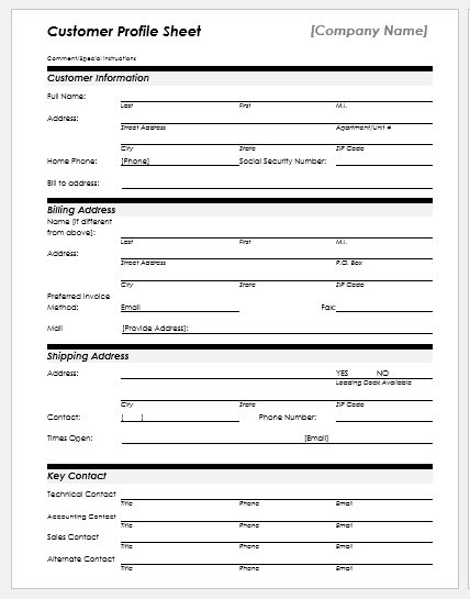 Customer profile sheet template