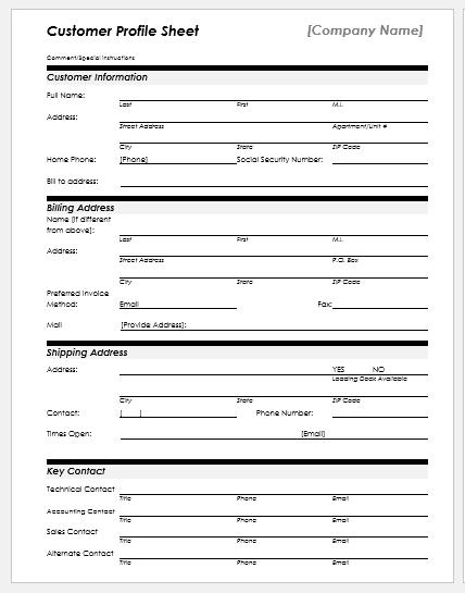 Customer profile sheet template